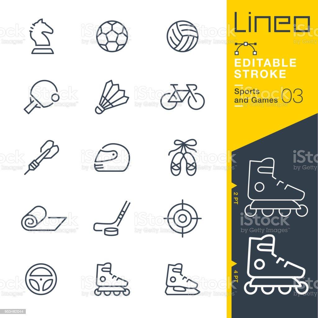 Lineo modifiable AVC - Sports et jeux ligne icônes - Illustration vectorielle