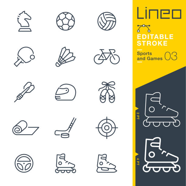 Lineo Editable Stroke - Sports and Games line icons Vector Icons - Adjust stroke weight - Expand to any size - Change to any colour racket stock illustrations