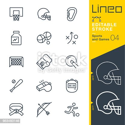 istock Lineo Editable Stroke - Sports and Games line icons 953483146