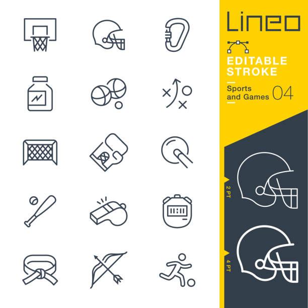 ilustraciones, imágenes clip art, dibujos animados e iconos de stock de línea de trazo editable lineo - deportes y juegos los iconos - boxeo deporte
