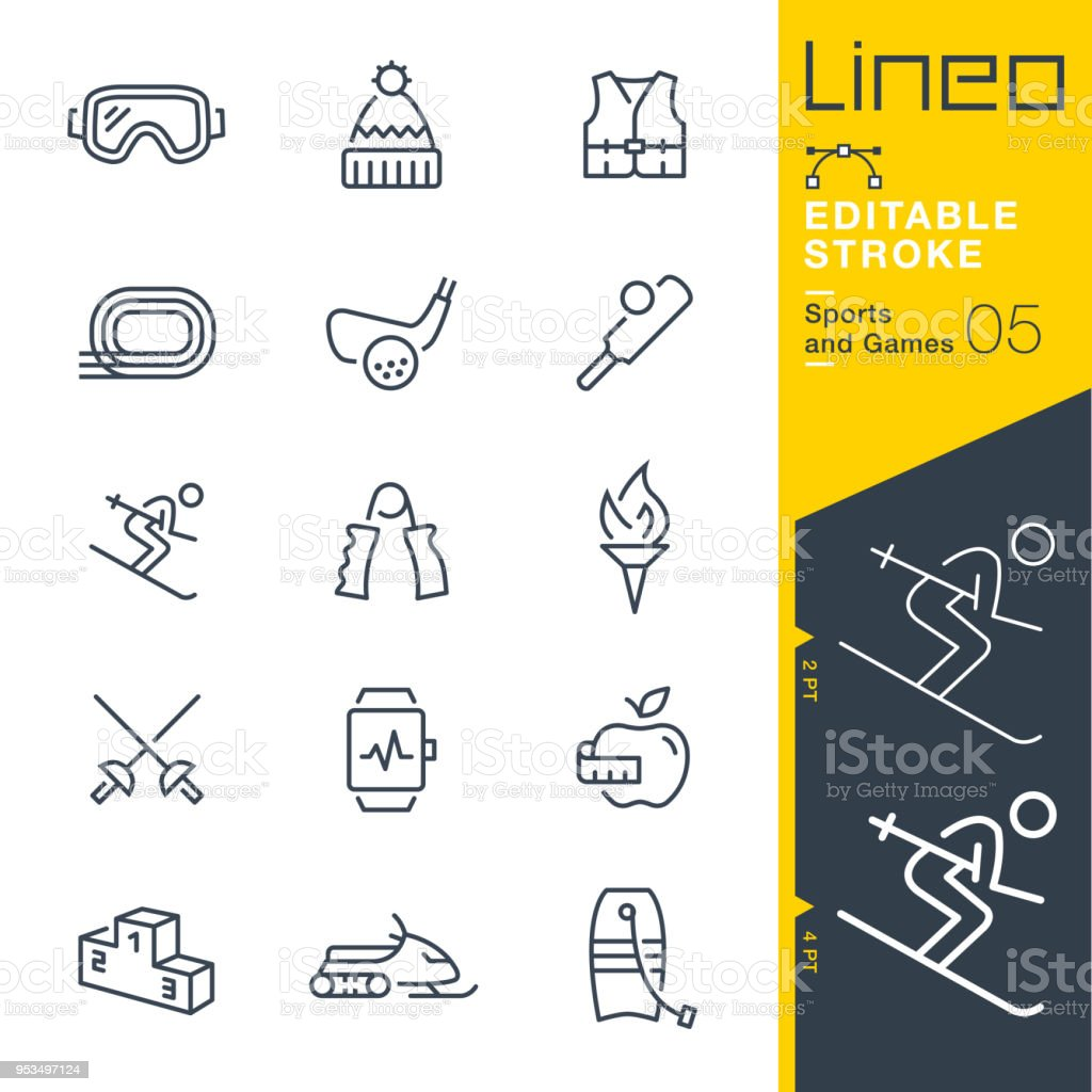 Lineo Editable Stroke - Sports and Games line icons vector art illustration