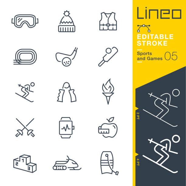 lineo editierbare schlaganfall - sport und spiel linie symbole - skifahren stock-grafiken, -clipart, -cartoons und -symbole
