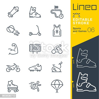 istock Lineo Editable Stroke - Sports and Games line icons 953506712