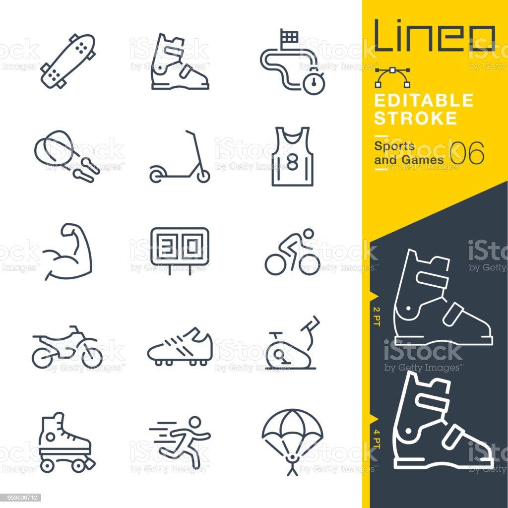 Lineo editierbare Schlaganfall - Sport und Spiel Linie Symbole – Vektorgrafik