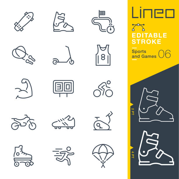 Lineo Editable Stroke - Sports and Games line icons Vector Icons - Adjust stroke weight - Expand to any size - Change to any colour parachuting stock illustrations