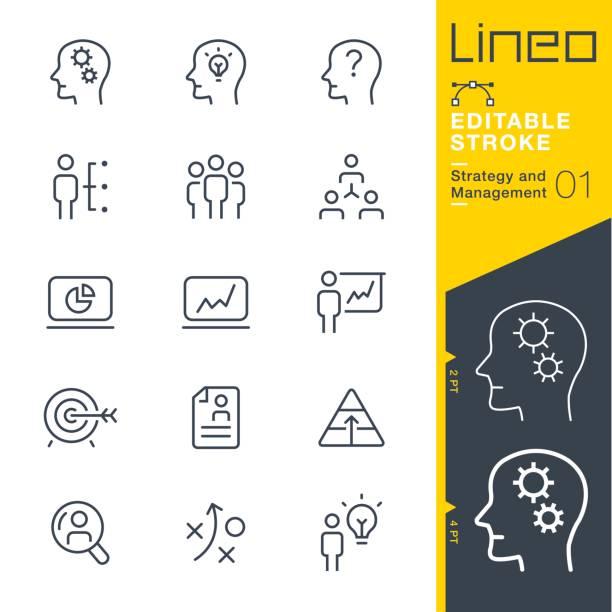 lineo 편집 가능한 뇌졸중-전략 및 관리 개요 아이콘 - 전략 stock illustrations