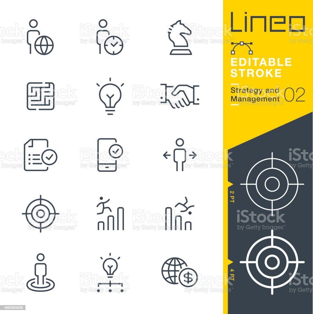 Lineo Editable Stroke - Strategy and Management outline icons vector art illustration