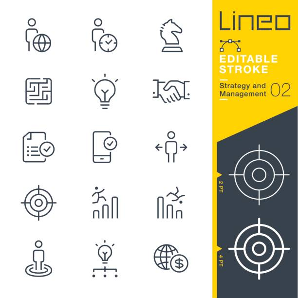 lineo editable stroke - strategy and management outline icons - sprzedawać stock illustrations