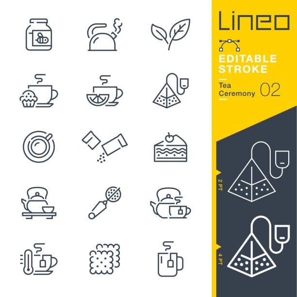 ilustrações de stock, clip art, desenhos animados e ícones de lineo editable stroke - tea ceremony line icons - inseto himenóptero