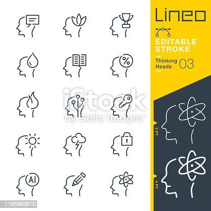 istock Lineo Editable Stroke - Thinking Heads line icons 1165663870