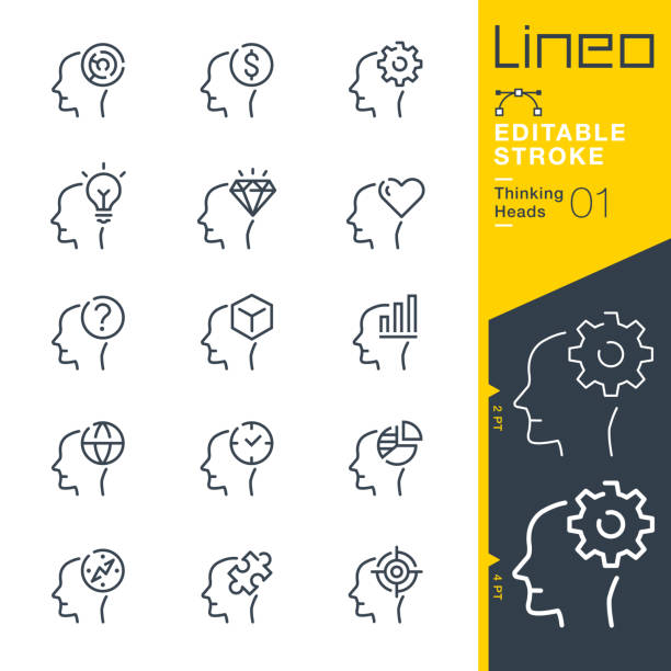 ilustrações, clipart, desenhos animados e ícones de curso editable de lineo-ícones de pensamento da linha das cabeças - cabeça