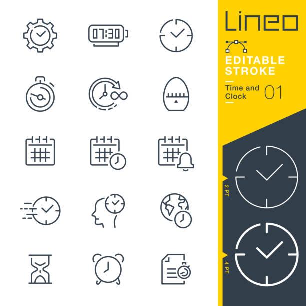 lineo editable stroke - ikony linii czas i zegar - czas stock illustrations