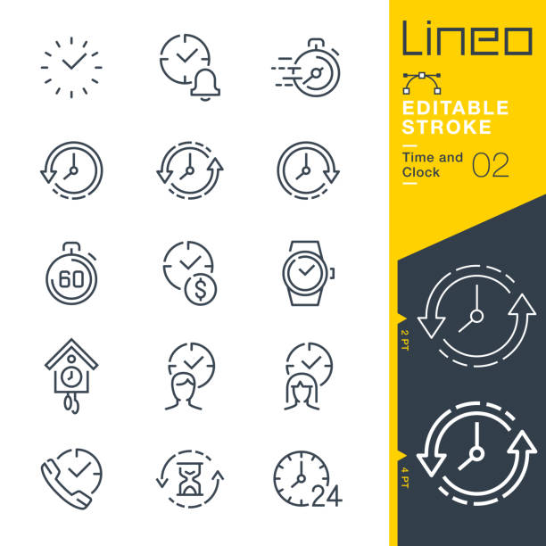Lineo Editable Stroke - Time and Clock line icons Vector Icons - Adjust stroke weight - Expand to any size - Change to any colour clock stock illustrations
