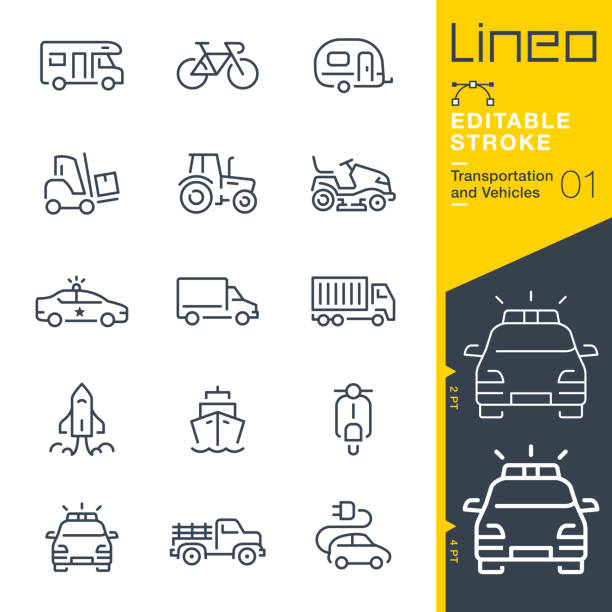 Lineo Editable Stroke - Transportation and Vehicles outline icons Vector icons - Adjust stroke weight - Expand to any size - Change to any colour alternative fuel vehicle stock illustrations