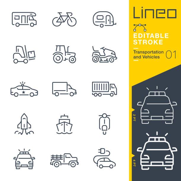 stockillustraties, clipart, cartoons en iconen met lineo bewerkbare lijn - transport en voertuigen schetsen pictogrammen - caravan