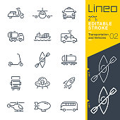 istock Lineo Editable Stroke - Transportation and Vehicles outline icons 1205038233