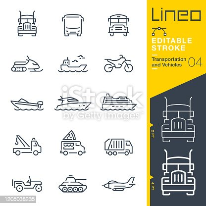 istock Lineo Editable Stroke - Transportation and Vehicles outline icons 1205038235