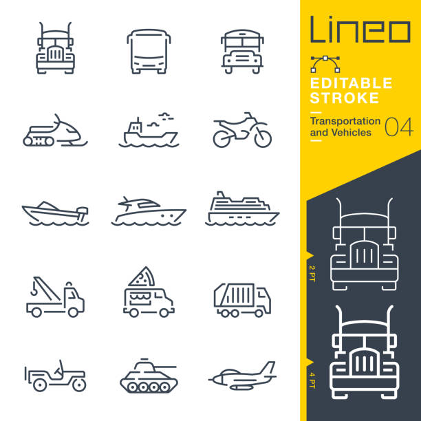 Lineo Editable Stroke - Transportation and Vehicles outline icons vector art illustration