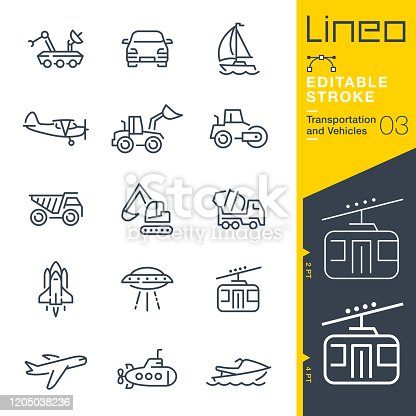 istock Lineo Editable Stroke - Transportation and Vehicles outline icons 1205038236