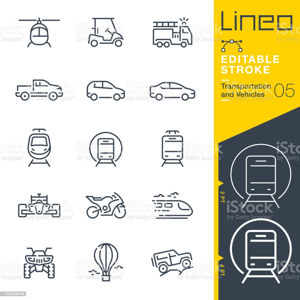 Lineo Editable Stroke - Transportation and Vehicles outline icons Vector icons - Adjust stroke weight - Expand to any size - Change to any colour 4x4 stock vector