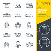 istock Lineo Editable Stroke - Transportation and Vehicles outline icons 1205038246
