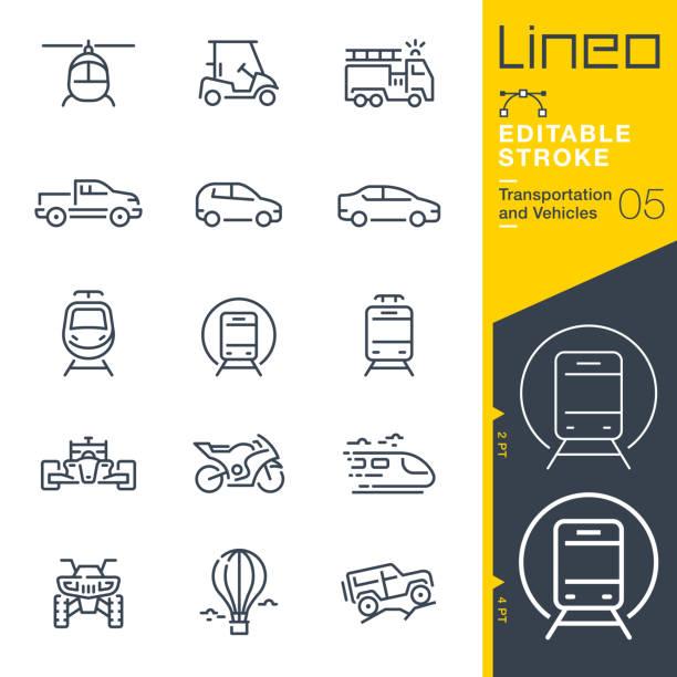 illustrazioni stock, clip art, cartoni animati e icone di tendenza di linea tratto modificabile - icone di contorno trasporto e veicoli - auto