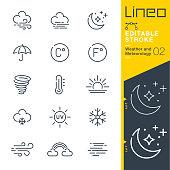 istock Lineo Editable Stroke - Weather and Meteorology line icons 1163150189
