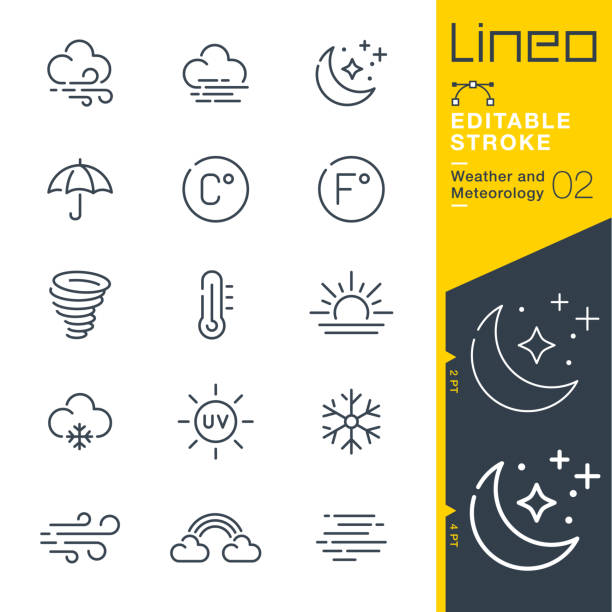Lineo Editable Stroke - Weather and Meteorology line icons Vector Icons - Adjust stroke weight - Expand to any size - Change to any colour storm stock illustrations