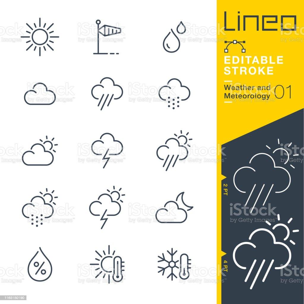 Curso editable de Lineo-ícones da linha do tempo e do Meteorology - Vetor de Calor royalty-free