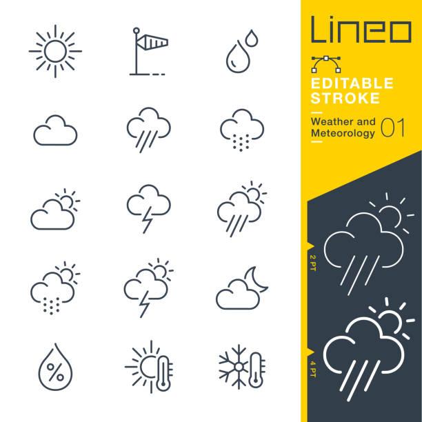 lineo editable stroke - ikony linii pogoda i meteorologia - chmura stock illustrations