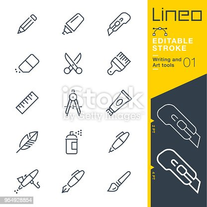 istock Lineo Editable Stroke - Writing and Art tools line icons 954928854