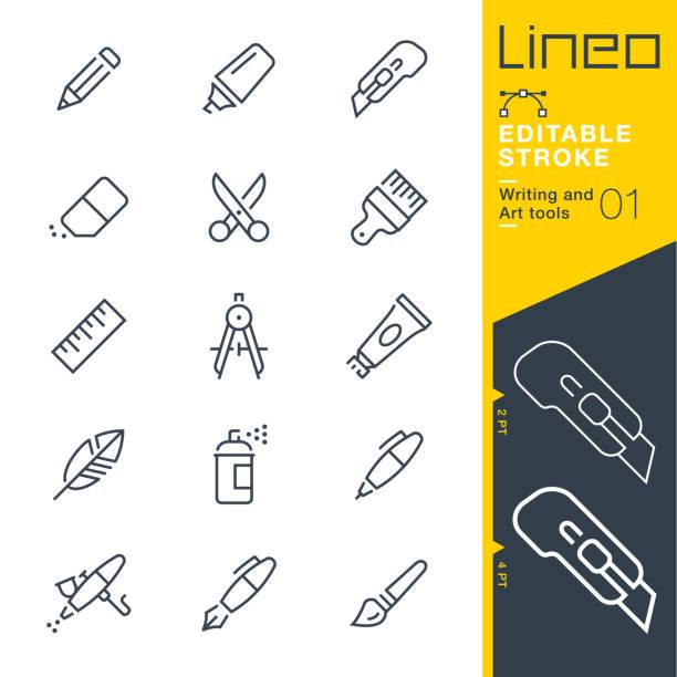 lineo editable stroke - ikony linii narzędzi do pisania i grafiki - pióro przyrząd do pisania stock illustrations