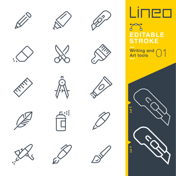 lineo editable stroke - writing and art tools line icons - ołówek stock illustrations