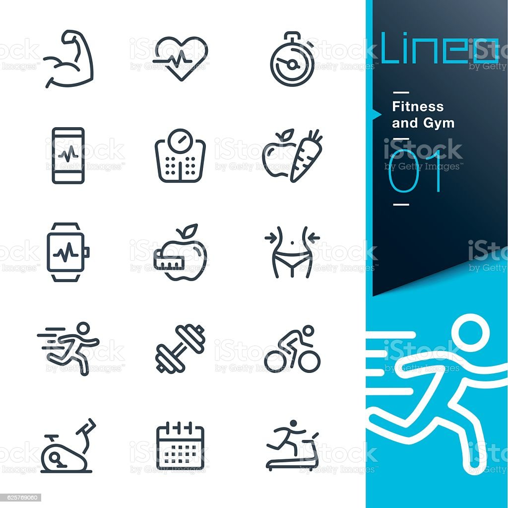 Lineo - Fitness and Gym line icons vector art illustration