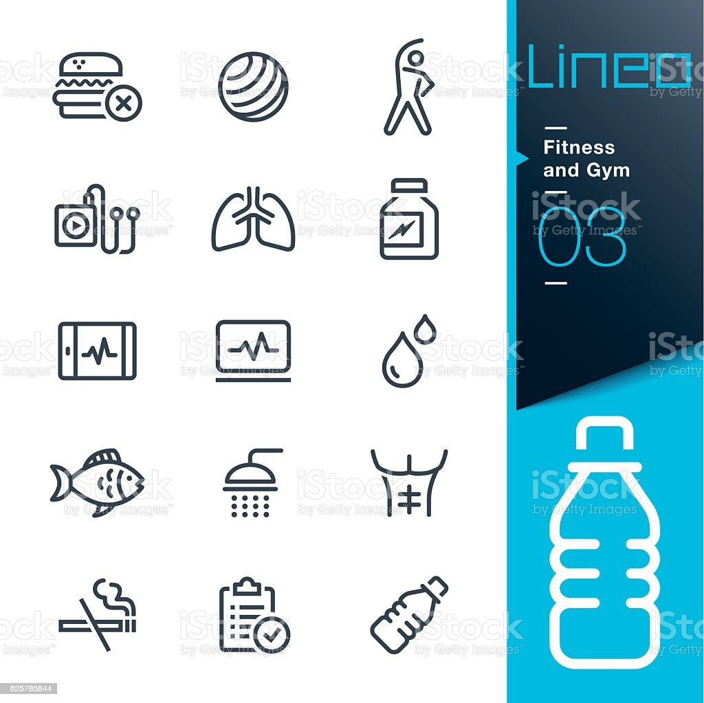 Lineo - Fitness and Gym line icons - ilustración de arte vectorial