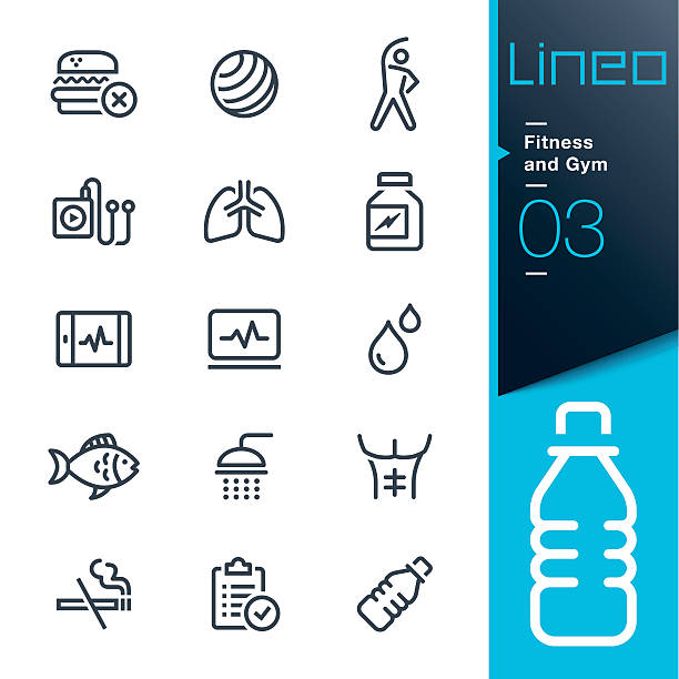 lineo - fitness and gym line icons - sports medicine stock illustrations, clip art, cartoons, & icons