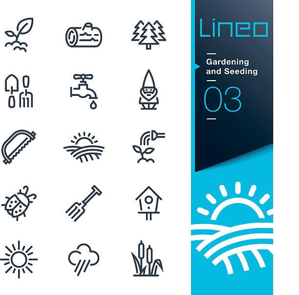 lineo-원예용 및 씨 뿌리기 꺾은선형 아이콘 - 곤충 실루엣 stock illustrations