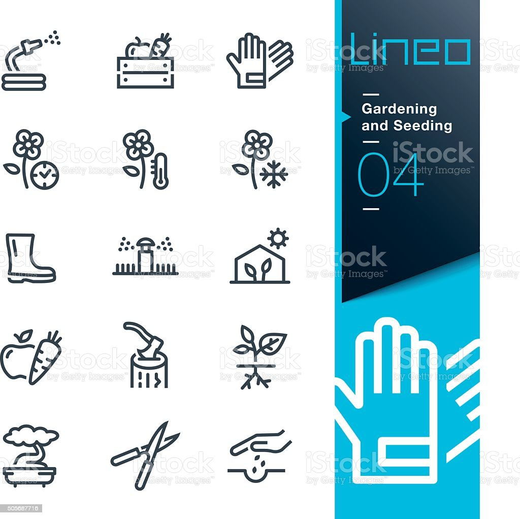 Lineo - Gardening and Seeding line icons - Royalty-free Apparatuur vectorkunst