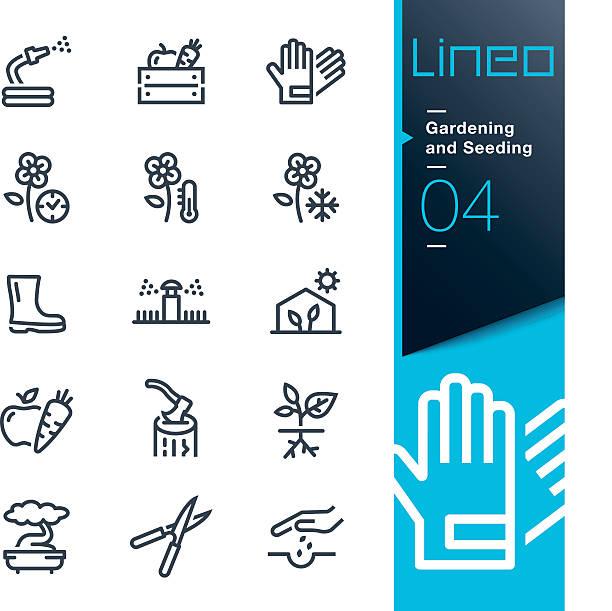 lineo-gartenarbeit symbole seeding linie - schutzhandschuhe stock-grafiken, -clipart, -cartoons und -symbole