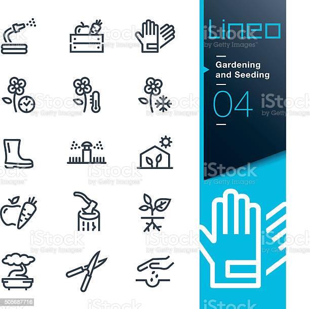 Lineo Gardening And Seeding Line Icons Stockvectorkunst en meer beelden van Apparatuur