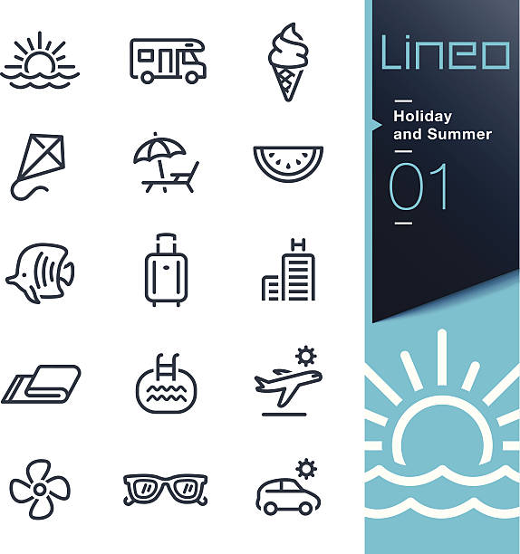 Lineo - Holiday and Summer outline icons Vector illustration, Each icon is easy to colorize and can be used at any size.  outdoor chair stock illustrations