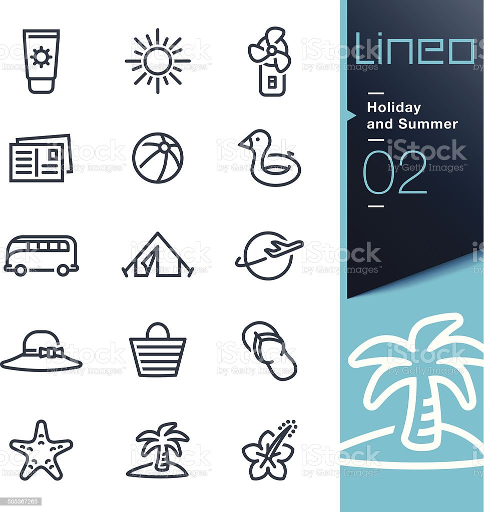 Lineo - Holiday and Summer outline icons vector art illustration