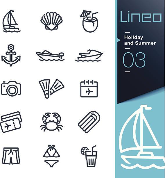 Lineo-Urlaub und Sommer-Kontur icons – Vektorgrafik