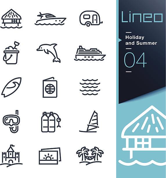 illustrations, cliparts, dessins animés et icônes de lineo-vacances d'été et icônes de contour - chateau de sable
