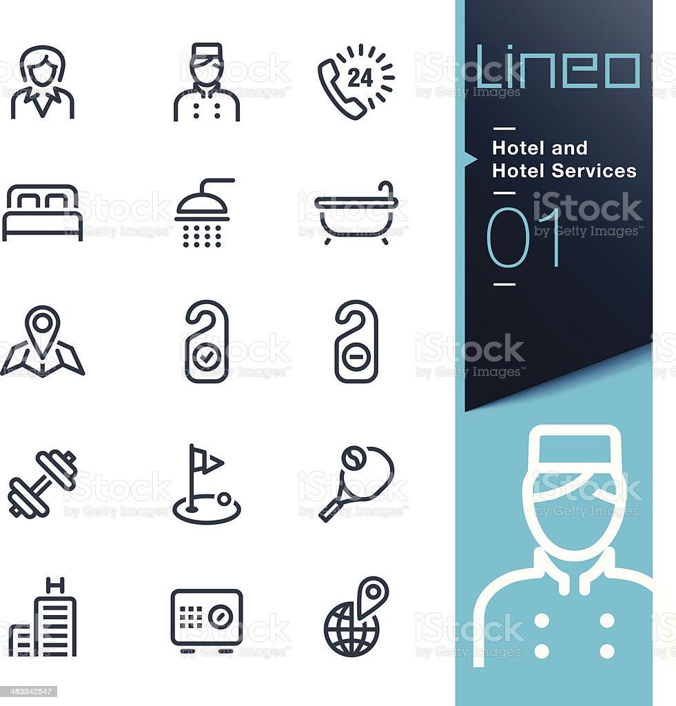 Lineo-icônes de Contour et Services de l'hôtel - Illustration vectorielle