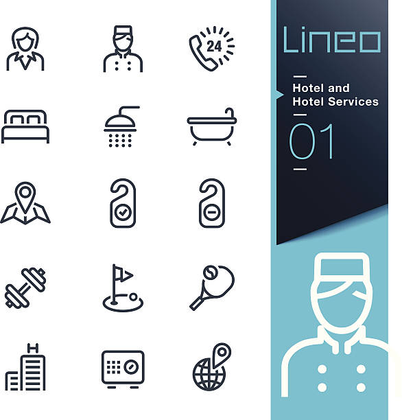 Lineo - Hotel and Hotel Services outline icons Vector illustration, Each icon is easy to colorize and can be used at any size.  bedroom icons stock illustrations
