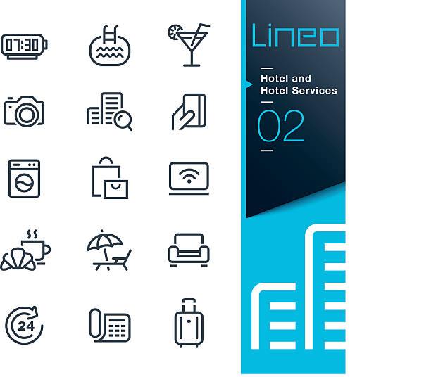 stockillustraties, clipart, cartoons en iconen met lineo - hotel and hotel services outline icons - gemak