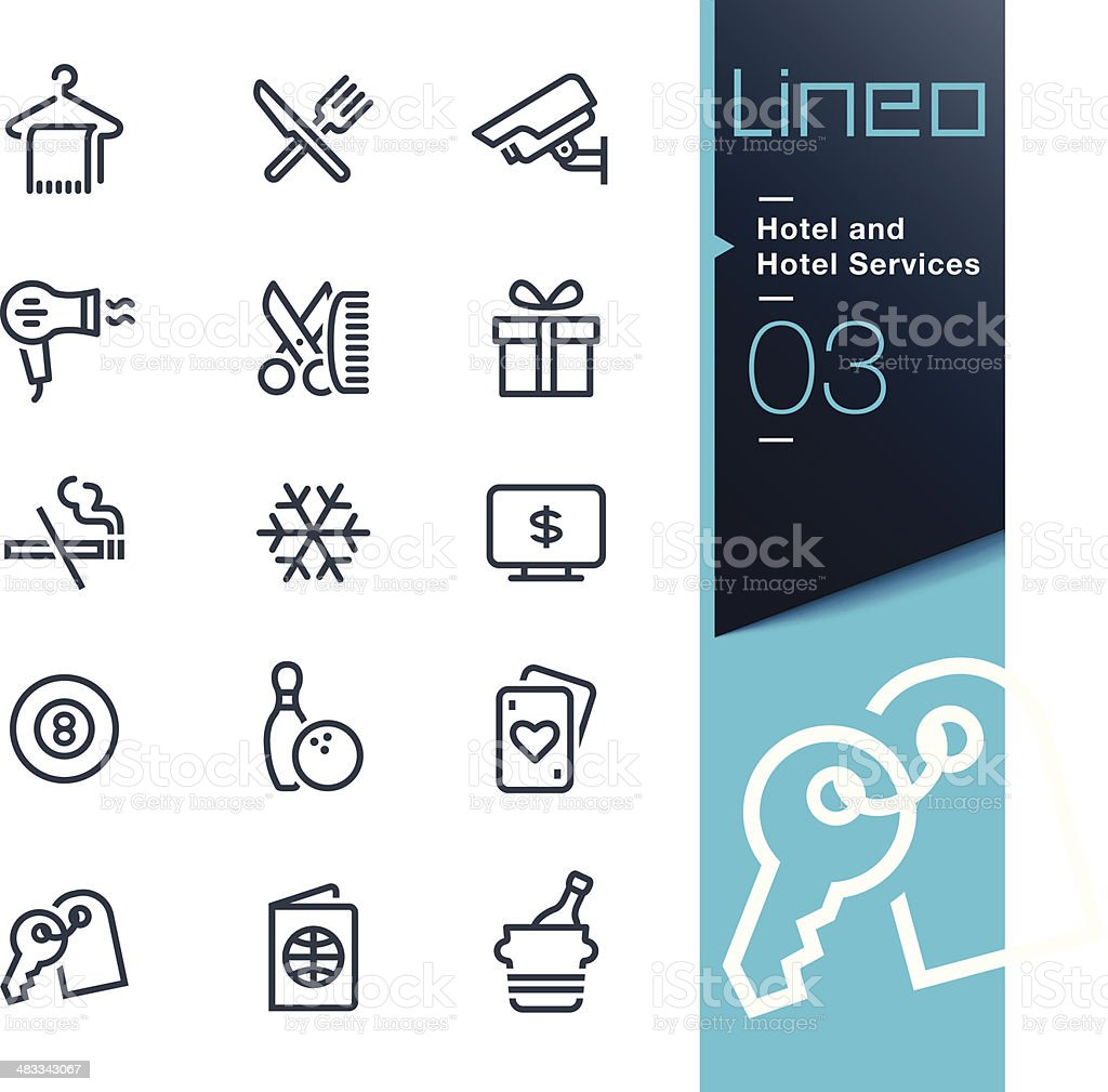 Lineo - Hotel and Hotel Services outline icons vector art illustration