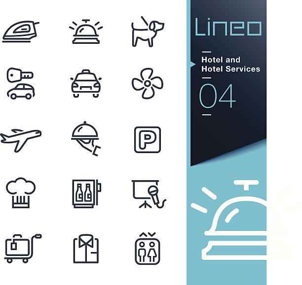 lineo-hotel und hotel-services kontur icons - rezeptionseingang stock-grafiken, -clipart, -cartoons und -symbole