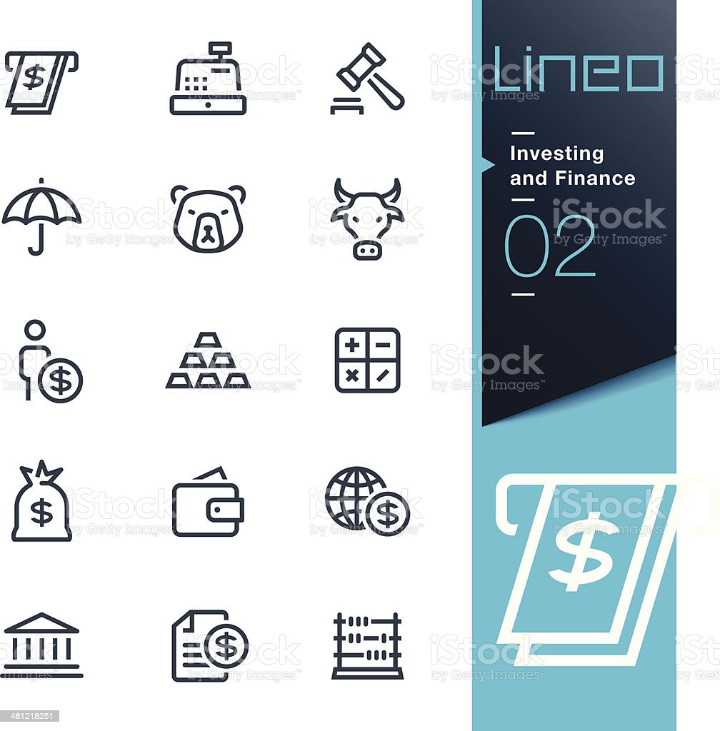 Lineo - Investing and Finance outline icons vektör sanat illüstrasyonu